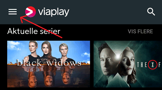 Viaplay menu